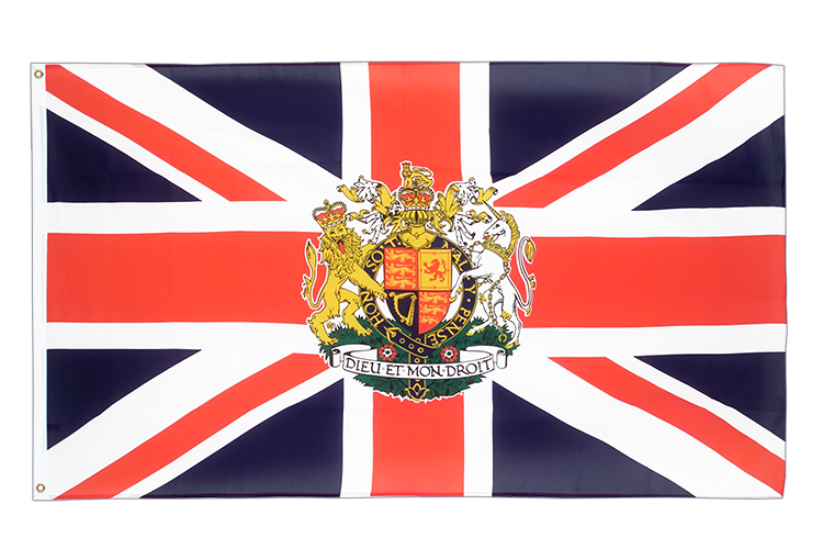 Cheap Flag Great Britain with crest - 2x3 ft