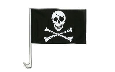 Pirate Skull and Bones Car Flag