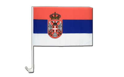 Serbia with crest Car Flag 12x16""
