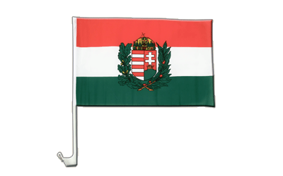 Car Flag Hungary with crest - 12x16""