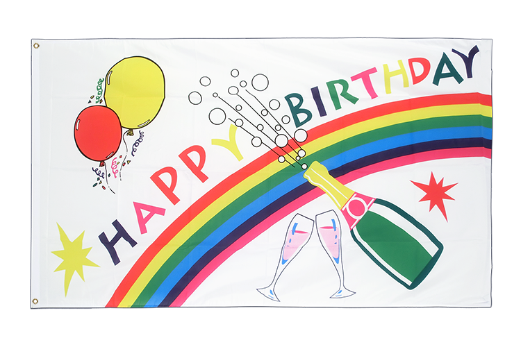 Large Flag Happy Birthday - 5x8 ft (big and giant)