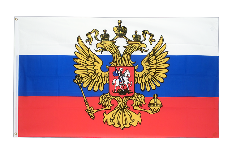 Large Flag Russia with crest - 5x8 ft (big and giant)