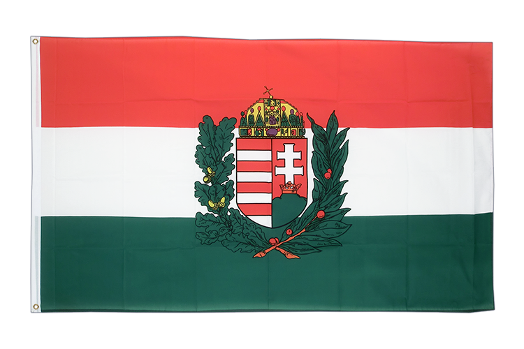 Large Flag Hungary with crest - 5x8 ft (big and giant)