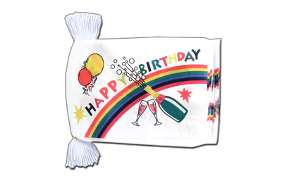 Guirlande fanion avec drapeau Happy Birthday 15x22 cm