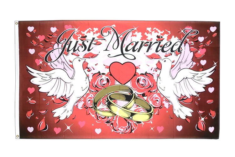 Drapeau Mariage Just Married 90 x 150 cm