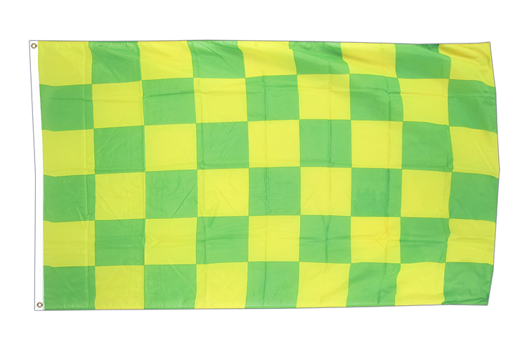 3x5 Checkered Green-Yellow Flag