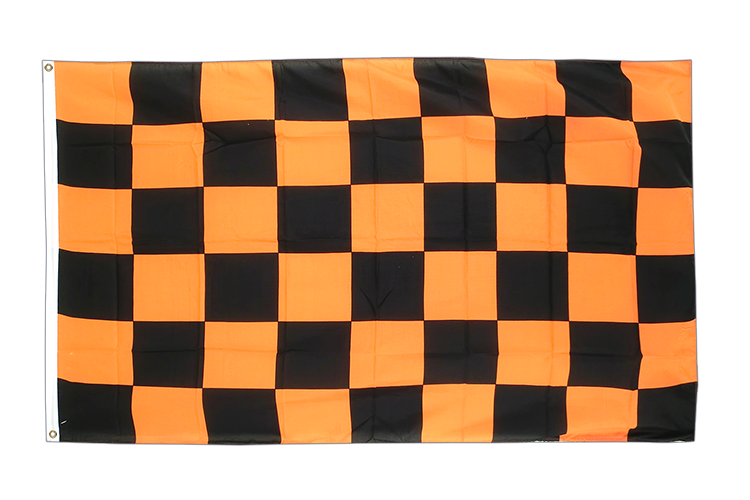 Checkered Black-Orange - 3x5 ft Flag