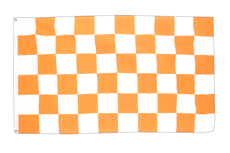 Drapeau Damier Blanc-Orange 90 x 150 cm