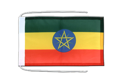 Flag with ropes Ethiopia with star - 8x12""