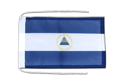 Flag with ropes Nicaragua - 8x12""