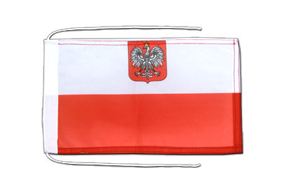 Flag with ropes Poland with eagle - 8x12""