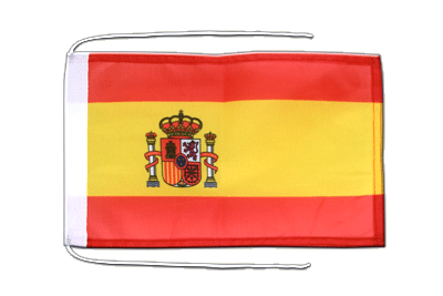 Flag with ropes Spain with crest - 8x12""