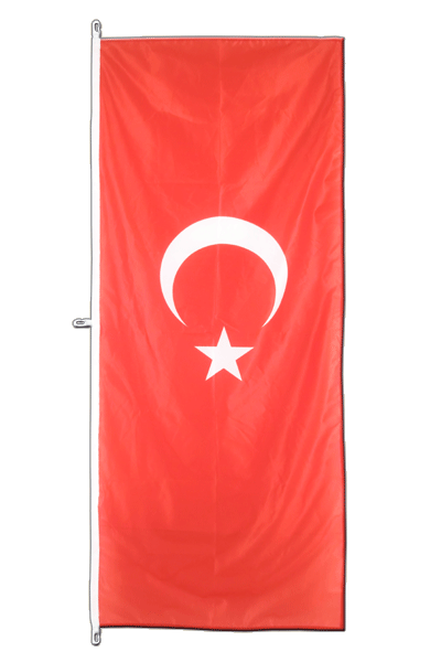 Vertical Hanging Flag Turkey - approx 2 x 6 ft