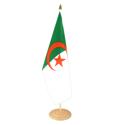 "Large Desk and Table Flag Algeria - 12x18"", wooden"