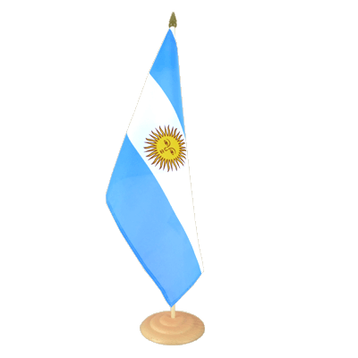 "Large Desk and Table Flag Argentina - 12x18"", wooden"