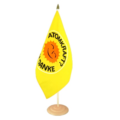 "Large Table Flag Atomkraft Nein Danke - 12x18"", wooden"
