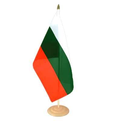 "Large Table Flag Bulgaria - 12x18"", wooden"