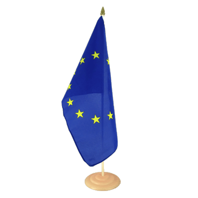 "Large Desk and Table Flag European Union EU - 12x18"", wooden"