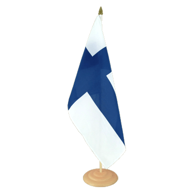 "Large Desk and Table Flag Finland - 12x18"", wooden"