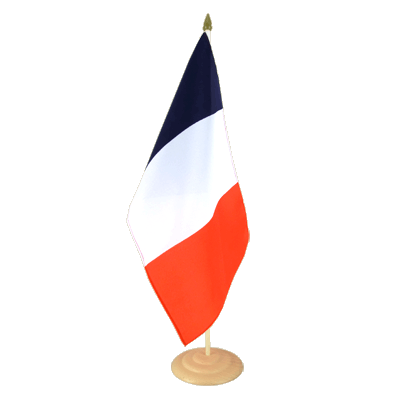 "Large Desk and Table Flag France - 12x18"", wooden"