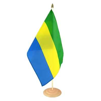 Grand drapeau de table Gabon en bois 30x45 cm