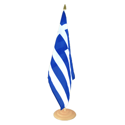 "Large Desk and Table Flag Greece - 12x18"", wooden"