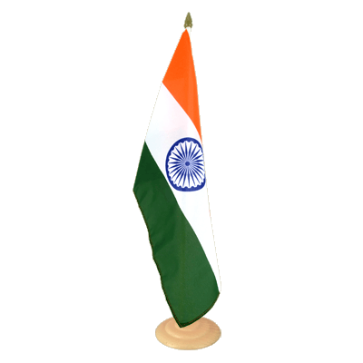 "Large Table Flag India - 12x18"", wooden"