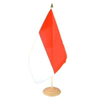"Large Desk and Table Flag Indonesia - 12x18"", wooden"