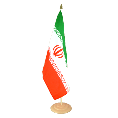 "Large Desk and Table Flag Iran - 12x18"", wooden"