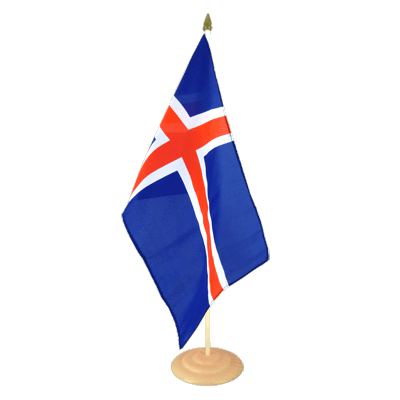 "Large Table Flag Iceland - 12x18"", wooden"