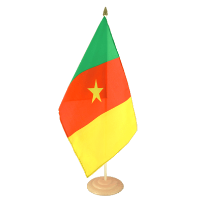 Grand drapeau de table Cameroun en bois 30x45 cm