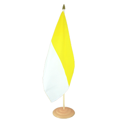 "Large Table Flag Church yellow white - 12x18"", wooden"
