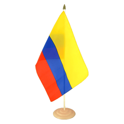 Grand drapeau de table Colombie en bois 30x45 cm