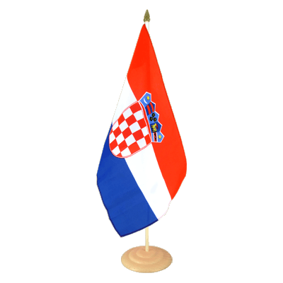 Grand drapeau de table Croatie en bois 30x45 cm