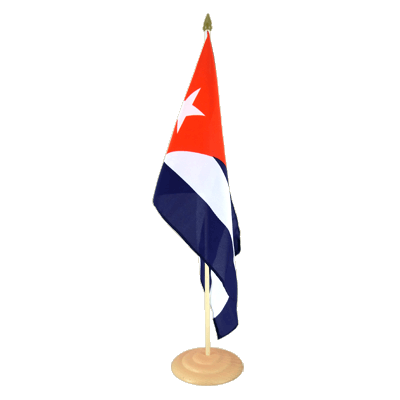 "Large Table Flag Cuba - 12x18"", wooden"