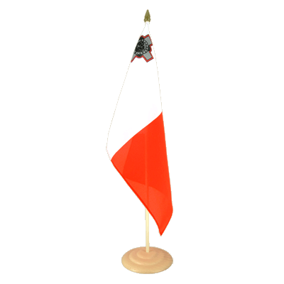 Grand drapeau de table Malte en bois 30x45 cm