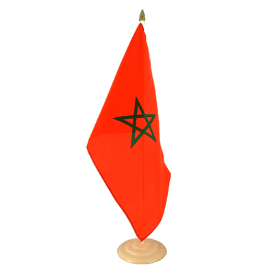 "Large Desk and Table Flag Morocco - 12x18"", wooden"