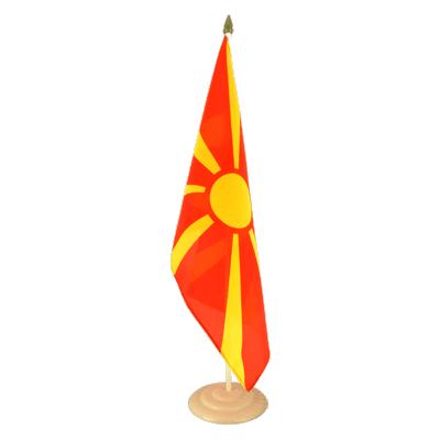 "Large Table Flag Macedonia - 12x18"", wooden"