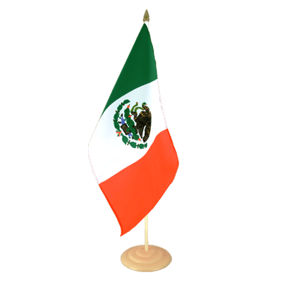 "Large Table Flag Mexico - 12x18"", wooden"