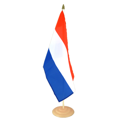 "Large Desk and Table Flag Netherlands - 12x18"", wooden"