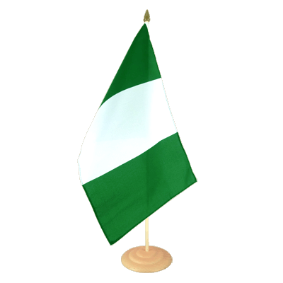 Grand drapeau de table Nigeria en bois 30x45 cm