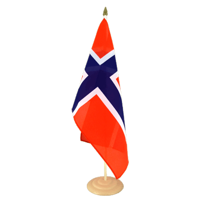 "Large Desk and Table Flag Norway - 12x18"", wooden"