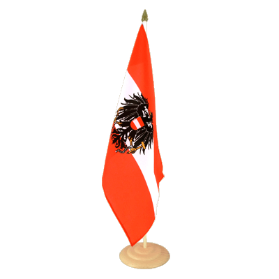 "Large Desk and Table Flag Austria eagle - 12x18"", wooden"
