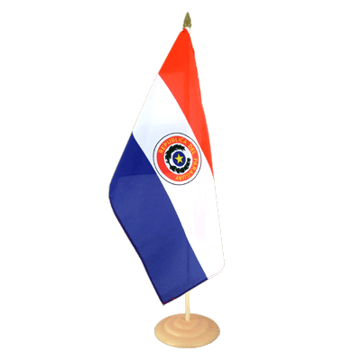 Large Paraguay Table Flag, wooden - 12x18""