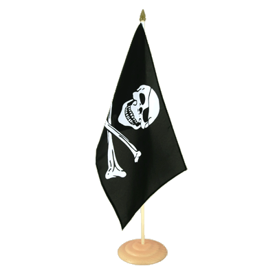 "Large Desk and Table Flag Pirate Skull and Bones - 12x18"", wooden"