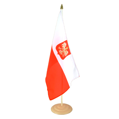 "Large Desk and Table Flag Poland with eagle - 12x18"", wooden"