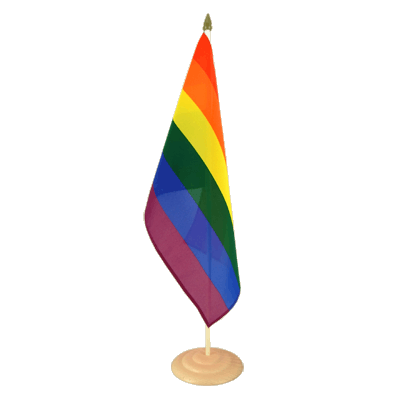 "Large Desk and Table Flag Rainbow - 12x18"", wooden"