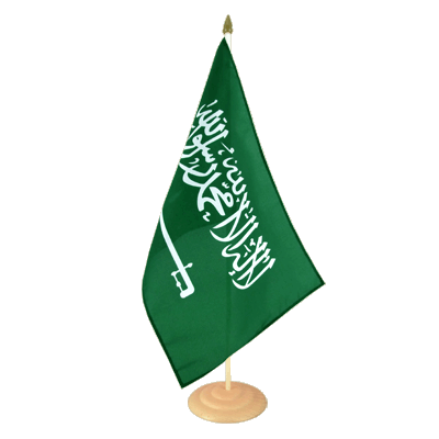 Grand drapeau de table Arabie Saoudite en bois 30x45 cm