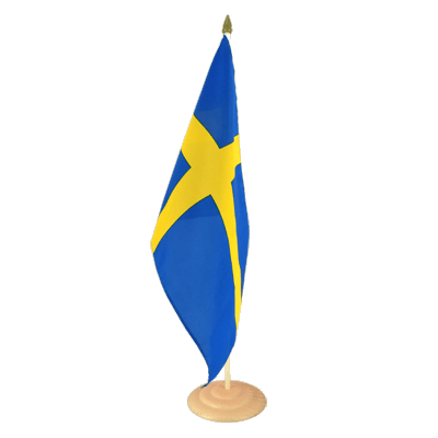 "Large Desk and Table Flag Sweden - 12x18"", wooden"