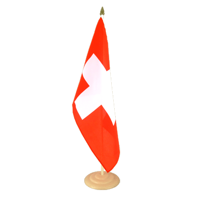 "Large Table Flag Switzerland - 12x18"", wooden"